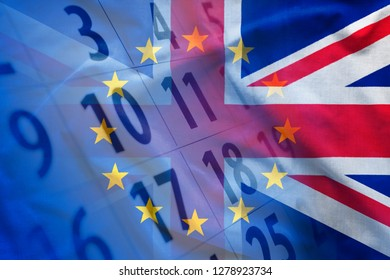 Overlapped images of flags of European Union and Great Britain over modern calendar