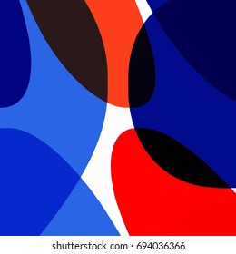 Overlapping Blue and Orange Ovals Pattern