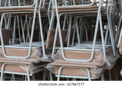 Overlapping chairs before using in school classrooms
