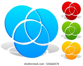 Overlapping circles icon - Contour of 3 overlapping, intersecting circles