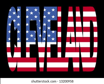 overlapping Cleveland text with American flag illustration JPG