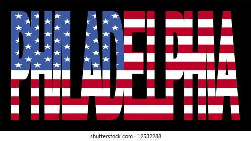 overlapping Philadelphia text with American flag illustration JPG