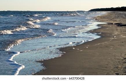 Overlapping waves at the beach on Hilton Head Island, South Carolina