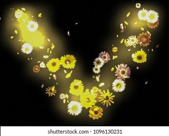 Overlay Background Wallpaper Letter V Love Flowers