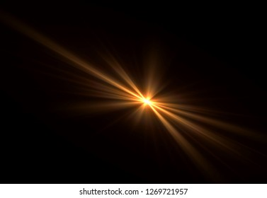 Overlay, flare light transition, effects sunlight, lens flare, light leaks. High-quality stock images of warm sun rays light effects, overlays or golden flare isolated on black background for design