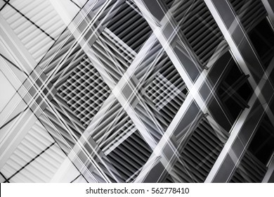 Overlay of grid structures. Grunge reworked photo of louvered windows. Abstract black and white image on the subject of industrial architecture and interior.