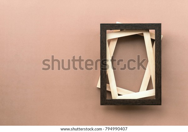 Overlay Twist Three Wooden Picture Frames Stock Photo Edit