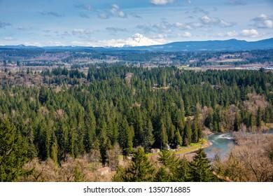 Overlook of Clackamas countryside with Mt. Hood Oregon.