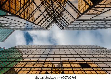 Overlook of a golden building in Tsim Sha Tsui Hong Kong