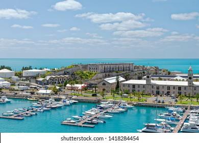 Overlook of King's Wharf at the former Royal Naval Dockyard on Ireland Island, Bermuda