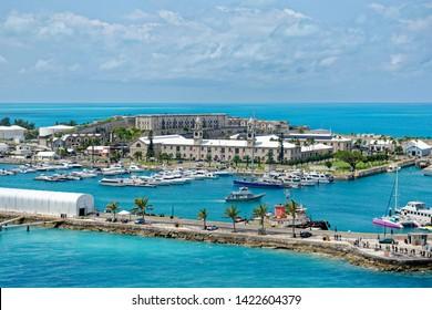 Overlook of King's Wharf, the former Royal Naval Dockyard on Ireland Island, Bermuda