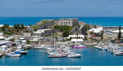 Overlook of marina and original Royal Naval Dockyard buildings at King's Wharf on Ireland Island, Bermuda