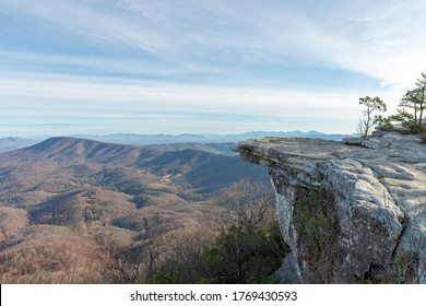 Overlook of a McAfee Knob and Blue Ridge mountains in Virginia, USA, on sunrise in autumn