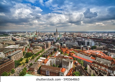 Overlook from the Michelin Tower to the old town part of Hamburg, Germany