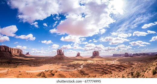Overlook of the Monument Valley at noon with HDR effect, Utah, USA.