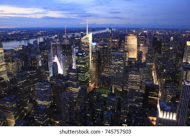 Overlook of New York City in the dusk