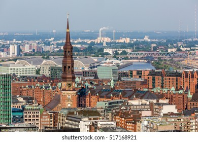 Overlook to the old town part of Hamburg and the Mahnmal St. Nikolai, Germany