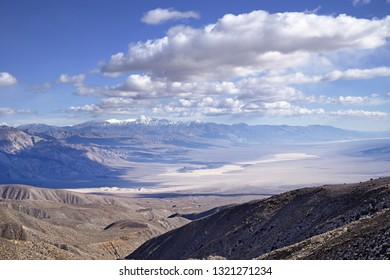 overlook of Panamint Valley in Death Valley National Park with distant Telescope Peak covered in snow