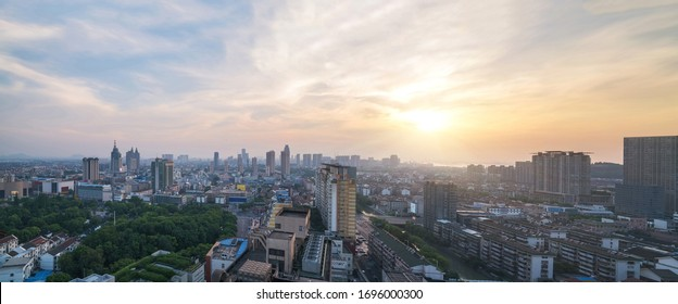 Overlook the panoramic view of urban scenery and modern architecture skyline In Jiangyin city, Jiangsu Province, China