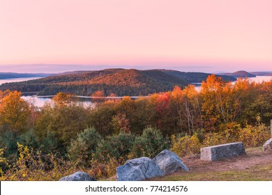 overlook at Quabbin reservoir in the fall