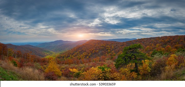 An overlook at Shenandoah National Park in Virginia with autumn colors.