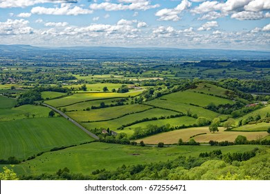 Overlook of the Vale of York from Sutton Bank in the Hambleton Hills near Thirsk, North Yorkshire, England