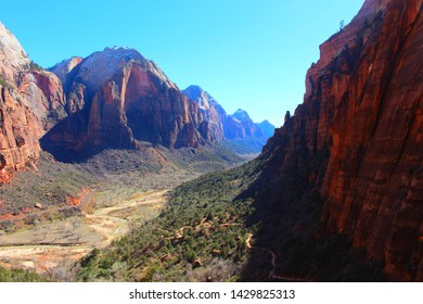 An overlook of the Zion National Park valley