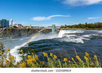 Overlooking the American Falls at Niagara Falls State Park in New York Toward the Scenic Overlook Structure Cantilevered Over the River