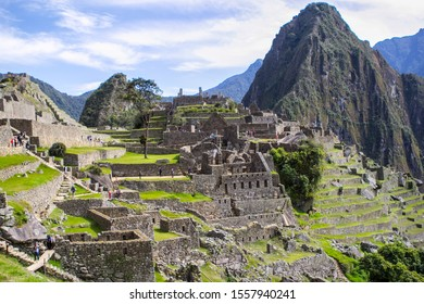 Overlooking of the ancient city of Machu Picchu, Peru over looking mountains