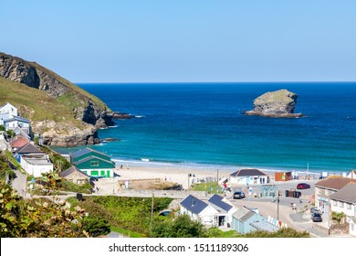 Overlooking the beach and village of Portreath from Tregea Hill. Cornwall England UK Europe