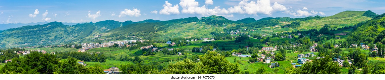 Overlooking the beauty of rural remote mountainous areas of China, in sunny summer - Shutterstock ID 1447075073