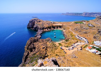 Overlooking the blue Aegean Sea from the Acropolis, Lindos, Greece