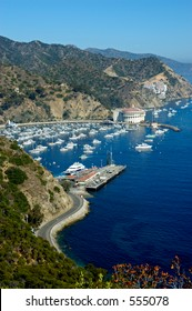 Overlooking the Casino Building and boats anchored in Avalon Harbor, Avalon, Catalina Island California.