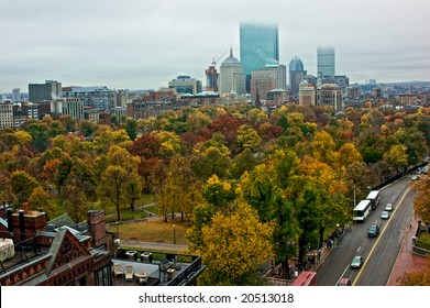overlooking the city of boston on a rainy autumn day