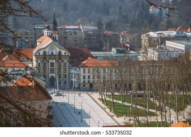 Overlooking city center of Ljubljana and Congress square