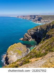 Overlooking the coastline near  St Agnes Cornwall England UK