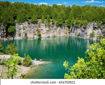 Overlooking the Elora quarry swimming hole, amazing hidden gem, Ontario, Canada.