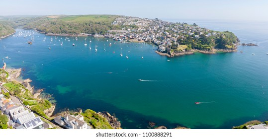 Overlooking Fowey Harbour and Polruan, Cornwall, UK in the spring.