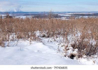 overlooking frozen spring lake and mississippi river atop schaars bluff of spring lake park reserve in hastings minnesota