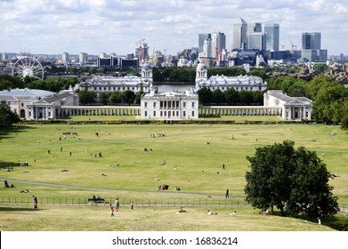 Overlooking Greenwich Park with National Maritime Museum, Canary Wharf and the London skyline in the background