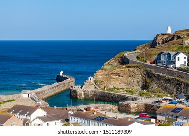 Overlooking the harbour and village of Portreath from Tregea Hill. Cornwall England UK Europe