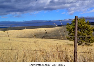 Overlooking A High Mountain Grassland With A Blue Sky As A Backdrop