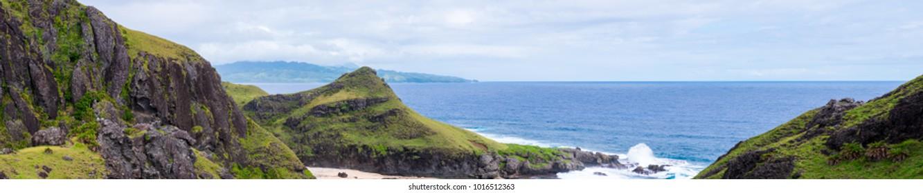 Overlooking hills of Batanes, Philippines. Hi-res panorama.