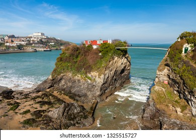 Overlooking The Island and the golden sandy Towan Beach Newquay Cornwall England UK Europe