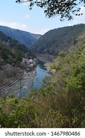 Overlooking Katsura River in Kyoto Japan