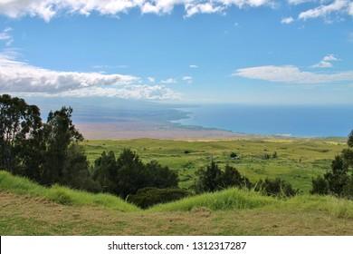 Overlooking the Kohala valley leading to the ocean on the Big Island of Hawaii