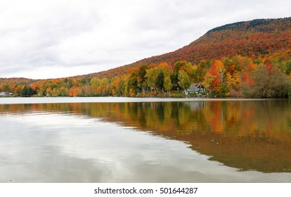 Overlooking of Lake Elmore State Part With Beautiful Autumn Foliage and Water reflections  at Elmore, Vermont, USA