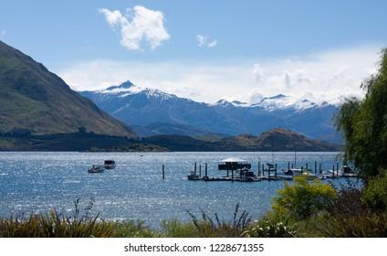 Overlooking the Lake Wanaka in Wanaka in New Zealand