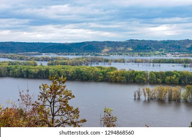 overlooking mississippi river from atop bluff of effigy mounds national monument along iowa wisconsin border