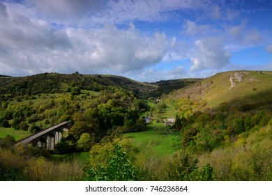 Overlooking Monsal Dale and Headstone Viaduct from Monsal Head, Peak District, Derbyshire, England